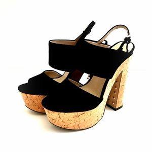 Zara Woman Peep Toe Cork Platform Black Suede